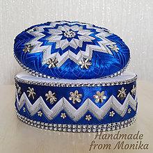 Krabičky - Modro-strieborná oválna šperkovnica - 8571874_