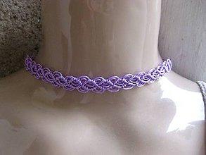 Náhrdelníky - Čipkovaný náhrdelník obojok choker (fialový náhrdelník obojok choker č.1276) - 8568970_
