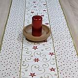 - Zlato červené hviezdy na smotanovej - stredový obrus  (130 c - 8568864_