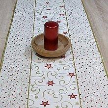 Úžitkový textil - Zlato červené hviezdy na smotanovej - stredový obrus 110x40 - 8568864_