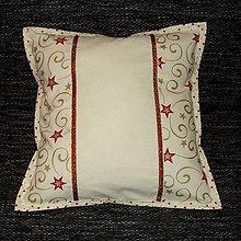 Úžitkový textil - Zlato červené hviezdy na smotanovej - vankúš (2) 40x40 - 8568887_