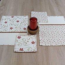 Úžitkový textil - Zlato červené hviezdy na smotanovej - podšálky 15x15 - 8568894_