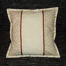 Úžitkový textil - Zlato červené hviezdy na smotanovej - vankúš (1) 40x40 - 8568912_