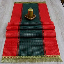 Úžitkový textil - Zlaté bodky na červenej a zelenej - stredový obrus 143x40 - 8569843_