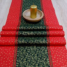 Úžitkový textil - Zlaté ornamenty a hviezdičky - stredový obrus 130x40 - 8570019_
