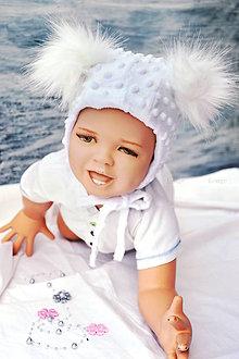 Detské čiapky - Zimná minky čiapka baby & white - 8572335_