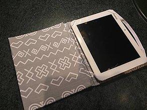 Na tablet - Obal na čítačku alebo tablet - #30 látka Čičmany v sivom - 8570949_