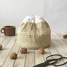 Úžitkový textil - Servírovacie vrecúško na chlieb a pečivo 3v1 - 8569010_