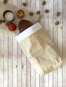 Úžitkový textil - Podšité vrecko na chlieb a pečivo 3v1 - 8570676_