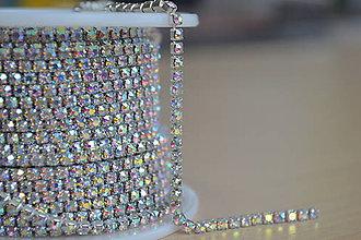 Galantéria - Štrasová borta crystal AB 2mm, 0.30€/10cm - 8570381_