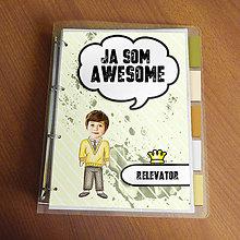 "Papiernictvo - Ja som awesome ,,všetkozošit"" (pásiky - trocha šprt) - 8570149_"