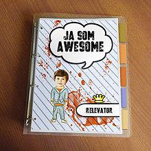 """Papiernictvo - Ja som awesome ,,všetkozošit"""" (pásiky - denim boy) - 8570157_"""