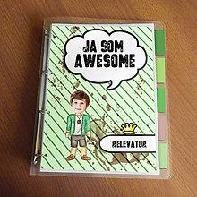 """Papiernictvo - Ja som awesome ,,všetkozošit"""" (pásiky - zelenáč) - 8570162_"""