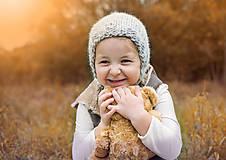 Detské čiapky - Jesenno - zimný čepček VLNENÝ SIVKO - 8572785_