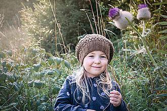 Detské čiapky - Prechodná baretka BROWN + vyber si farbu kvietku - 8572813_