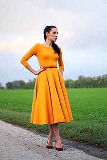 Šaty - Midi šaty horčicovo žlté - 8572917_