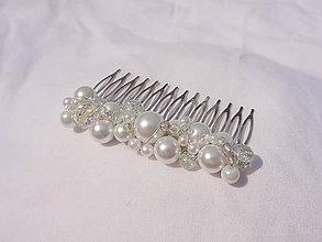 Ozdoby do vlasov - svadobný hrebienok...biely - 8575850_