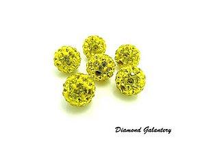 Korálky - Shamballa korálky - žlté - 10 mm - 8574408_