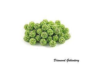 Korálky - Shamballa korálky - 10 mm - Jabĺčkovo zelené - 8574440_