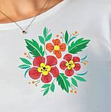 Tričká - Dámske tričko dlhý rukáv kvety - 8576252_