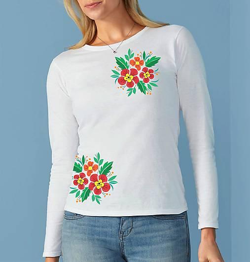 Dámske tričko dlhý rukáv kvety