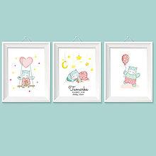 Grafika - Séria personalizovaných obrázkov s údajmi dieťatka do detskej izby s hrošíkom pre dievčatko - 8574002_
