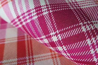 Textil - dizajnová bavlnená látka ružovo-oranžové káro - 8574096_