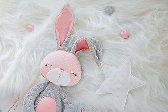 Hračky - Zajačik šedo-ružový  - 8575202_