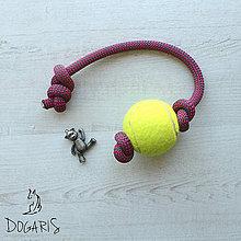 Pre zvieratká - Preťahovacia hračka pre psa - loptička na lane - 8575372_