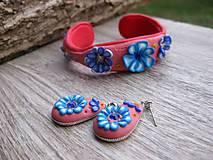 Sady šperkov - Kvietková marhulovo ružová sada č.1290 - 8575317_