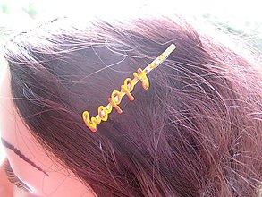 Ozdoby do vlasov - Sponka s nápisom (HAPPY č.1285) - 8573166_