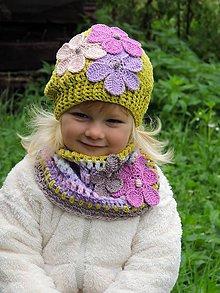 Detské čiapky - Limetková baretka a nákrčník - 8574937_