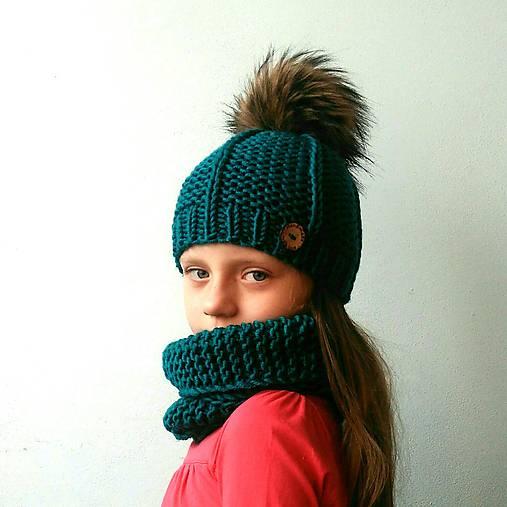 Zimný pletený set tyrkysový
