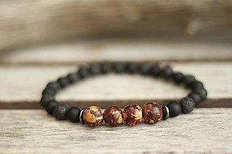 Šperky - Pánsky náramok acai, láva, onyx - 8573634_