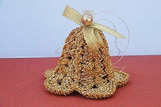 Dekorácie - Háčkované vianočné zlaté zvončeky - 8575774_