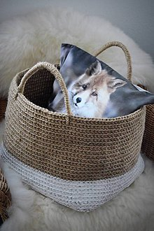Košíky - Maxi jutový kôš alebo keď je líška v košíku - 8574470_