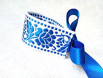 Náramky - Slovak folklore bracelet (royal blue/white) - 8579085_