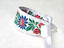 Náramky - Slovak folklore bracelet (white) - 8579124_