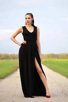 Šaty - Dlhé čierne s rozparkom - 8579809_