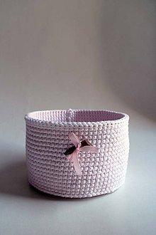 Košíky - Košík - Ružový svetlý   Drevený gombík - 8579045_