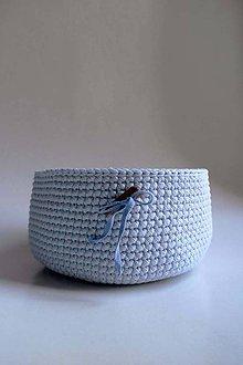 Košíky - Košík - Modrý svetlý | Drevený gombík - 8579308_