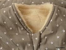 Textil - Spací vak pre deti a bábätká ZIMNÝ 100% MERINO na mieru Hviezdička sivá - 8580570_