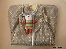 Textil - Spací vak pre deti a bábätká ZIMNÝ 100% MERINO na mieru Hviezdička sivá - 8580571_