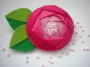 Odznaky/Brošne - Dámska brošňa (Ruža ružová) - 8577052_