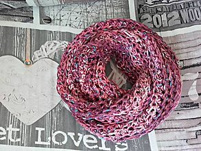Šály - Háčkovaný nákrčník ružový melír - 8576911_