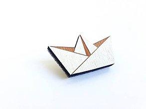 Odznaky/Brošne - Brošňa Origami papierová loď biela - 8578963_