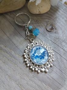 Kľúčenky - Kľúčenka-modrobiela - 8580591_