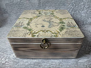 Krabičky - Cestovatelská bedna s vintage mapou - 8576953_