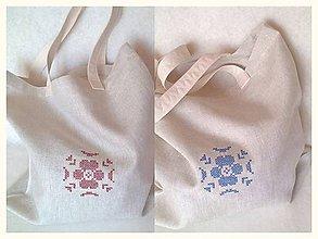 Nákupné tašky - Nákupná taška ľanová s výšivkou - 8578678_