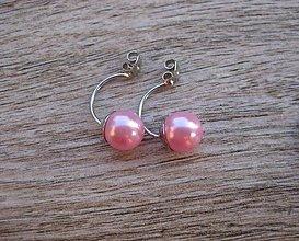 Náušnice - Duo double dvojité náušnice - spodný diel s ružovou perlou č.1293 - 8579419_